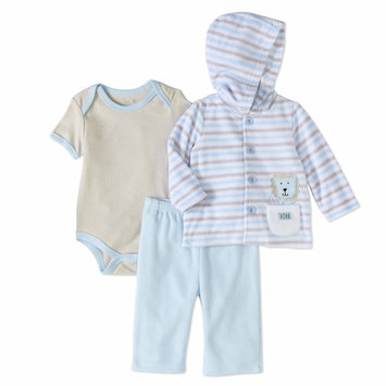 born Baby Boy Fleece Jacket, Bodysuit & Pants, 3pc Outfit Set