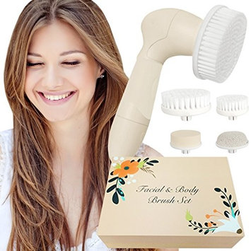 Skin Cleansing System Facial Brush & Body Care Kit - Vintage Almond Facial Brush