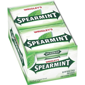 Wrigleys Spearmint Chewing Gum, 2 x 10 Boxes Each Contains 15 Count Sticks - 2 Packs