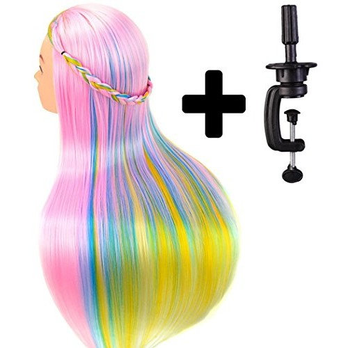 """24"""" Cosmetology Mannequin Head 100% Synthetic Hair Rainbow Color, Practice Training Hair Styling Mannequin Head with Table Clamp Holder"""