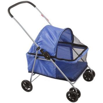 Large Blue Basket-Style Folding Pet Carrier Stroller ...