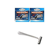 Trac II Chrome Handle + Personna Twin Pivot Plus Razor Cartridges w/ Lubricating Strip for Atra & Trac II Razors 10 ct. (Pack of 2) + FREE Scunci Black Roller Pins, 18 Pcs
