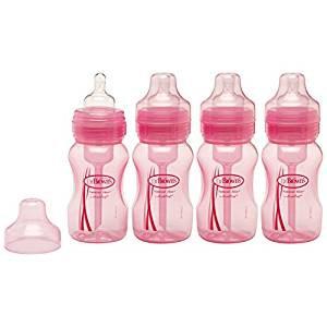 Handi Craft Dr. Brown's Natural Flow Wide-Neck Bottles 8oz, 4 Count - Pink