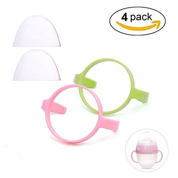 Bottle Handle,Aieve 2 Pack Feeding Bottle Handle Grip,Compatible Bottle Handle for Comotomo Baby Bottle with 2 Pack Feeding Bottle Cap,Suitable for 5oz and 8oz