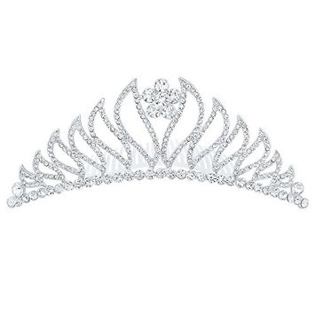 LY8 Fashion Women Silver Tone Bling Crystal Tiara Crown Wedding Bridal Hair Combs for Party Prom