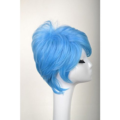 Yuehong Blue Short Wavy Fashion Hair For Adult Anime Cosplay Costume Hair Party Wig Hot Sale