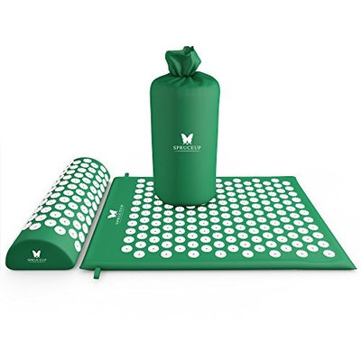 Premium Quality Acupressure Mat Pillow Acupressure Massage by Spruce up Life Back Neck Pain Relief Acupuncture Set Enhances Sleep Alleviates Pain Reduces Stress Bonus Carrying Bag Included