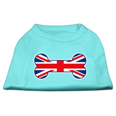 Mirage Pet Products 5120 XLAQ Bone Shaped United Kingdom Union Jack Flag Screen Print Shirts Aqua XL 16