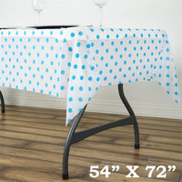 Balsacircle 54x72' Polka Dots Disposable Plastic Table Cover - White on Serenity Blue