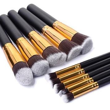 Makeup Brushes, 10pcs Makeup Brush Set, Cosmetics Foundation Blending Brush Eyeliner Face Powder Brush Makeup Brush Kit (Golden Black)