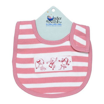 Under The Nile Pink & White Stripe People Organic Cotton Bib