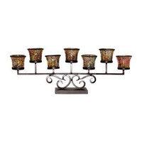 San Miquel Iron & Mossaic Glass Centerpiece Mantel Candle Holder