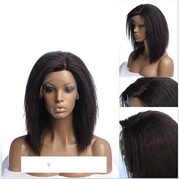 Bob Style 150% Density Kinky Straight Wigs For Women Off Black Color Glueless Synthetic Hair Lace Front Wig (14in, dark brown)