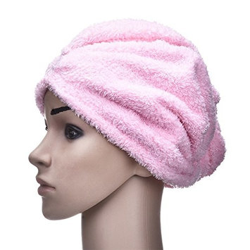 Yunhigh Microfibre Hair Drying Towels Wraps with Button Anti-frizz Absorbent Turban Hair Cap for Curly Long Hair Women Kids Ladies Girls- Pink