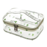 WODISON Cute Printed Clear Cosmetic Bag Travel Makeup Train Case Organizer with Top Handle Cactus Large