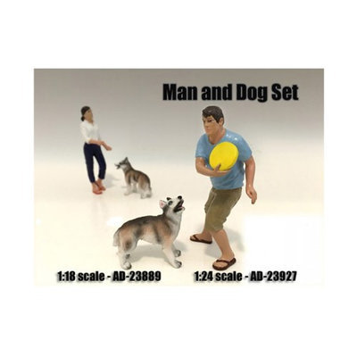 American Diorama 23927 Man & Dog 2 Piece Figure Set for 1-24 Scale Models