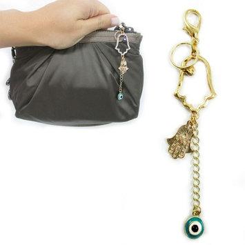 Atb Hamsa Purse Charm Evil Eye Lucky Hand Crystal Keychain Accessory Pendant Gift!