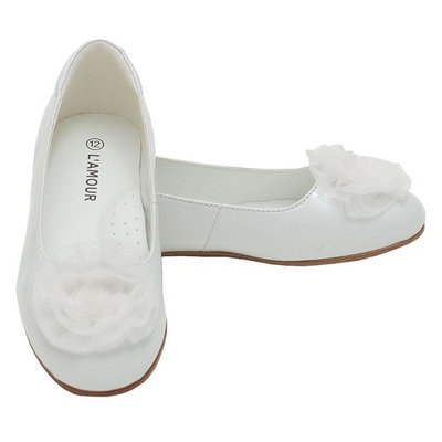 L'Amour Girls White Flower Slip On Dress Shoes Toddler 5-Little Girl 4