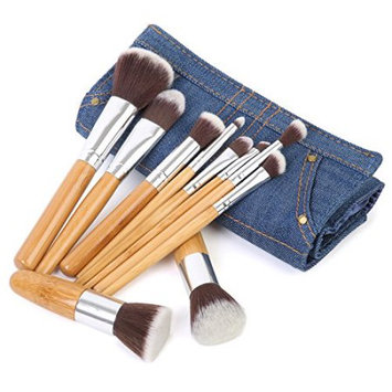 Ivation Pro Signature Brush Set - Includes 10 Pieces Handmade Natural/synthetic Bristle with Bamboo Wooden Handle, Comes with a Travel Holder Jeans Pouch