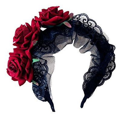 LUOEM Gothic Headband Lace Flower Head Piece Hair Band Accessory Party Costume Favors Supplies - Halloween Costumes Gift for Women Girls (Black)