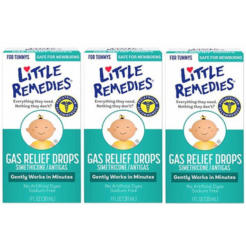 Little Remedies Gas Relief Drops | Natural Berry Flavor | 1 oz. | Pack of 3 | Gently Works in Minutes | Safe for Newborns [Gas Relief Drops]