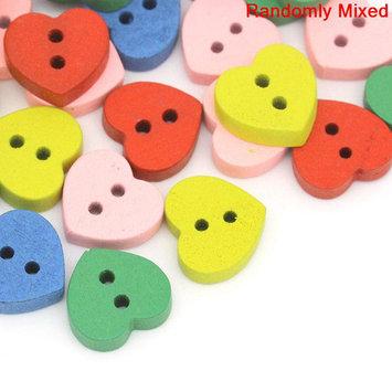 Sexy Sparkles 20 Pcs, Multicolor Heart 2 Holes Wood Buttons 11mm