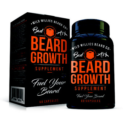 Beard Growth Vitamins for Men by Wild Willies - Naturally Faster Hair Growth - 60 Capsules with Biotin - Grow a Thicker, Fuller Beard and Mustache Today