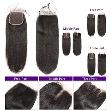 Brazilian Straight Human Hair Lace Closure 4x4 Three Part Medium Brown Color Lace Unprocessed Virgin Hair Extensions (Three Part 10inch)