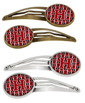 Letter H Football Red, Black and White Set of 4 Barrettes Hair Clips CJ1073-HHCS4