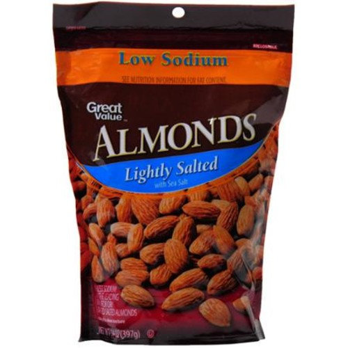 Great Value Low Sodium Lightly Salted Almonds, 14 oz