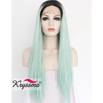 K'ryssma Ombre Mint Green Synthetic Lace Front Wigs For Women Halloween 22 Inch