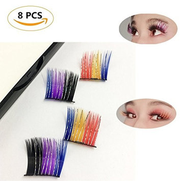Beautyonline 8 Pieces Colorful Magnetic Eyelashes 3D False Eyelashes For Fashion Icon Saloon Pub Club Bar Party Halloween Day Style 02