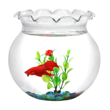 Koller Products Hawkeye 1 Gallon Fish Bowl, includes Glass Marbles and Plastic Plant, Shatterproof Plastic 8