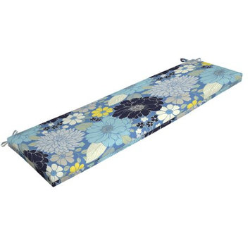 Arden Companies Mainstays Outdoor Patio Bench Cushion, Sorbet Blue Floral