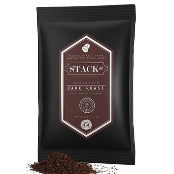 Dark Roast Sumatra Ground Coffee Packets - Certified Organic - 50/3 oz Pouches - Handcrafted Micro Roast By Stack Street