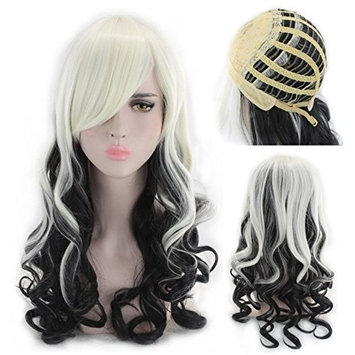 Party Queen Long Curly Mixed Color Wigs Black And White Wig 24Inches Heat Resistant Synthetic Wigs For Women