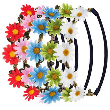 eBoot Multicolor Daisy Flower Headband Crown with Adjustable Elastic Ribbon, 5 Pieces