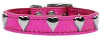 Mirage Pet Products 8314 10PkM Metallic Heart Leather Pink MTL 10
