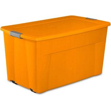 Sterilite 45 gal Wheeled Latch Tote, Bright Pumpkin - Case of 4