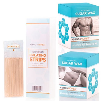BodyHonee Hair Removal Sugar Wax Kit for Men + Women - Super Kit