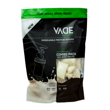 Vade Nutrition 100% Whey Isolate Dissolvable Protein Scoops - Combo Pack Chocolate and Vanilla, 30 Servings