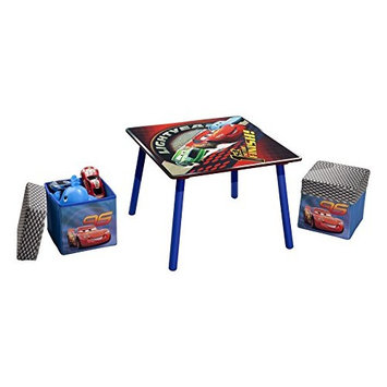Disney Pixar Cars Wooden Table and 2 Storage Ottoman Set