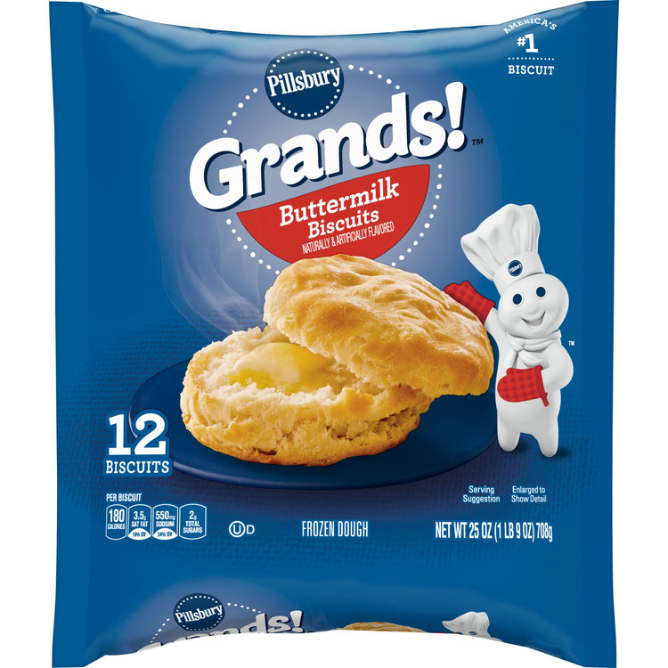 Pillsbury Grands!, Buttermilk, 12 Frozen Biscuits, 25 oz. Bag