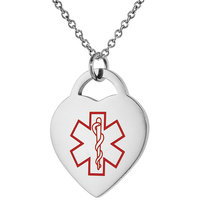 Surgical Steel Medical Alert Necklace for DIABETES-INSULIN Heart Shape ID 7/8 inch wide, 24 inch long