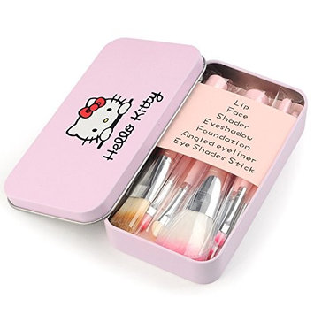 Pretty Cute Pink Makeup Brushes 7 Pieces Travel Makeup Brushes Set with Box Professional Foundation Cosmetic Brushes Eye shadow Brush Lip Brush for Powder Liquid