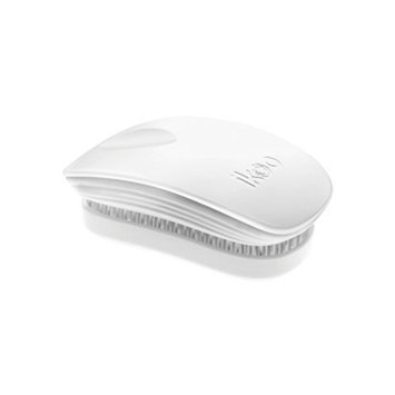 White Ikoo Compact Detangling Hair Brush, No More Tangled Hair - Great for Wet or Dry Hair, Women, Men, Girls and Boys. Extensions, Natural Hair or Wigs.