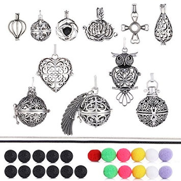 9+2Pcs Mixed Size Aromatherapy Perfume Fragrance Diffuser Lockets Pendants Necklaces Aroma Essential Oil Diffusers Necklaces With Chains Lava Stones Felt Balls