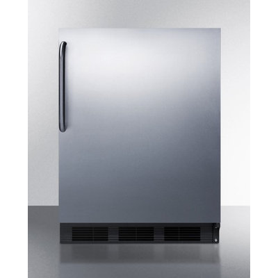 SUMMIT ADA compliant built-in refrigerator-freezer in black with stainless steel door and TB handle