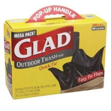 Glad Strong 100 large trash quick tie bags 30 gal
