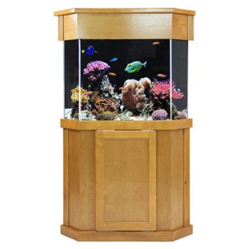 Laguna Series Pentagon Light Pine Wood Aquarium Stand